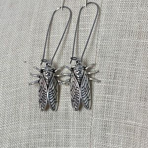 "2.5"" Silver Cicada Charm  Earrings"